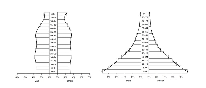 Population Pyramids for The United States (left) and Uganda (right)