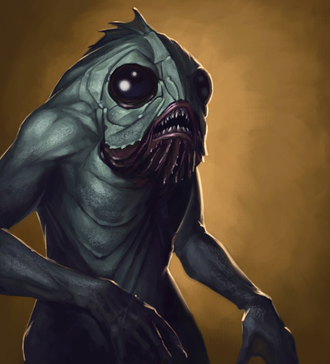 One of the monsters you may face off against: a Deep One, or a particularly advanced case of the Innsmouth Look. Scroll down to see the miniature of the Deep One!