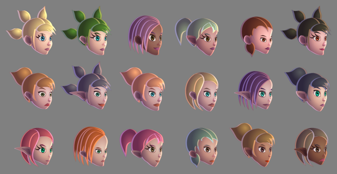These are a few examples of heads made with a custom head generator of a female toon.