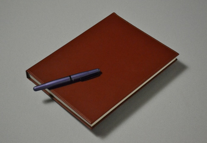 The exclusive leather journal with the first notes for the first draft of the new book on the San Marcos