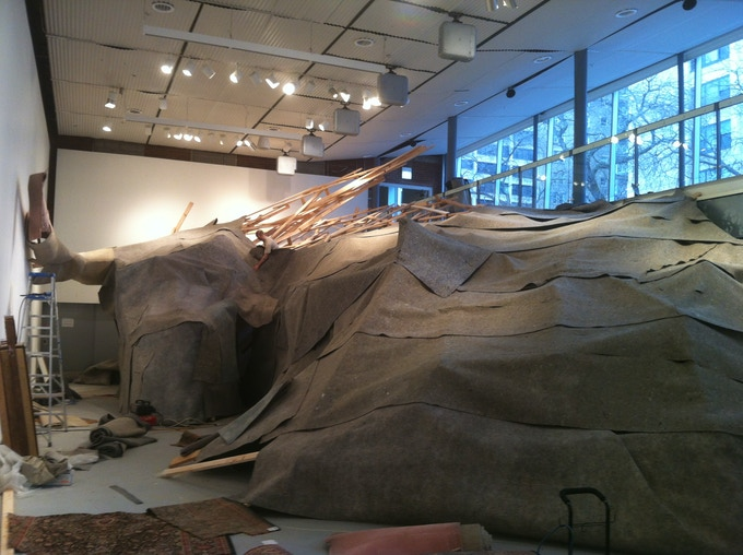 beast in progress - being covered by salvaged carpet felt