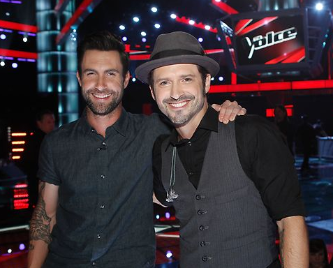 me and Adam on the set of The Voice