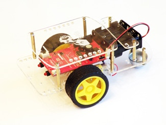 The GoPiGo Kit:  Acrylic Chasis and Hardware, Motors, Wheels, Encoders, a control PCB, and an 8XAA Battery Pack.