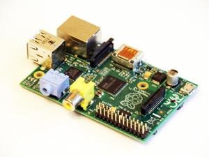 Raspberry Pi:  A Raspberry Pi Model B.