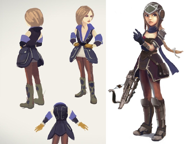 "The design for her Suvian ""minimal"" uniform and the pilot uniform costume"