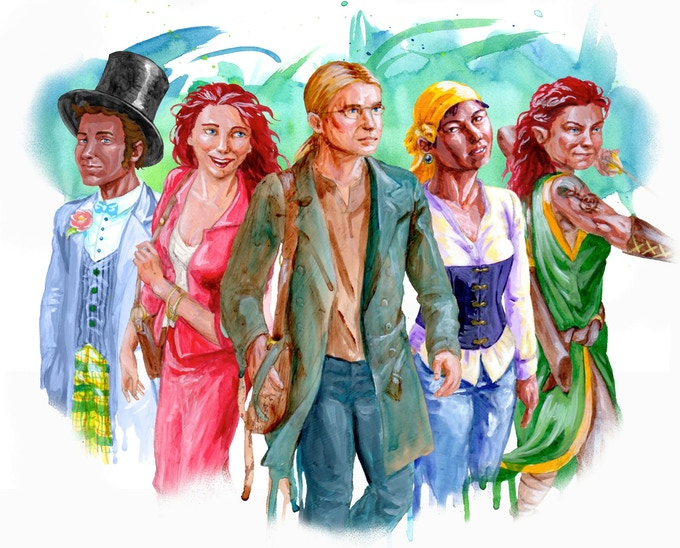 Portraits of some of the characters in the main series.