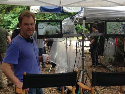 Director Eric Blue on the set of Beacon Point.