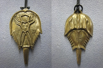Horseshoe Crab Pendent in Bronze: Back and Front