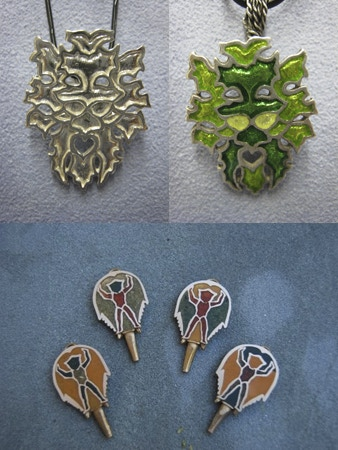 Top: Green Man w/out and with Resin Inlay. Bottom: Horseshoe Crab Back with Inlay