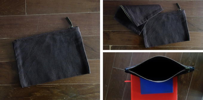 Bag backers will also receive a pouch to help organize small stuff. *Red & blue Moleskines not included, they're just there to prop up the pouch. :)