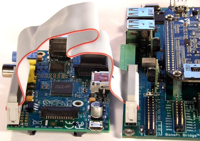 MotherBone™PiOne™ with Raspberry Pi and BeagleBone Black installed