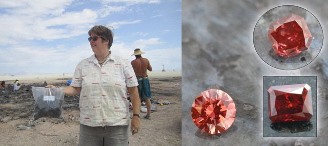 Left: Collecting Carbon from the Burn. Right: Red LifeGem Diamonds. Image Courtesy of LifeGem.