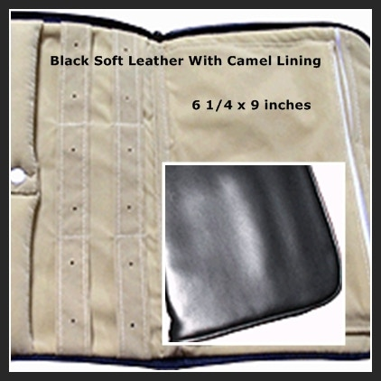 6 1/4 x 9 inches Soft Black Leather with Camel Lining
