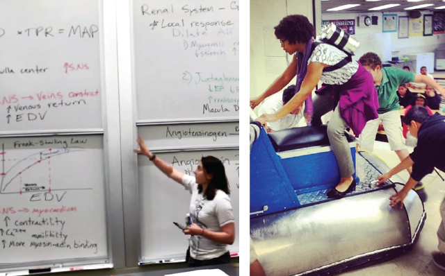 Ariel teaching Stanford's Human Biology Core final review session; Vanessa teaching at Joseph George Middle School... yes, that is a hover craft.