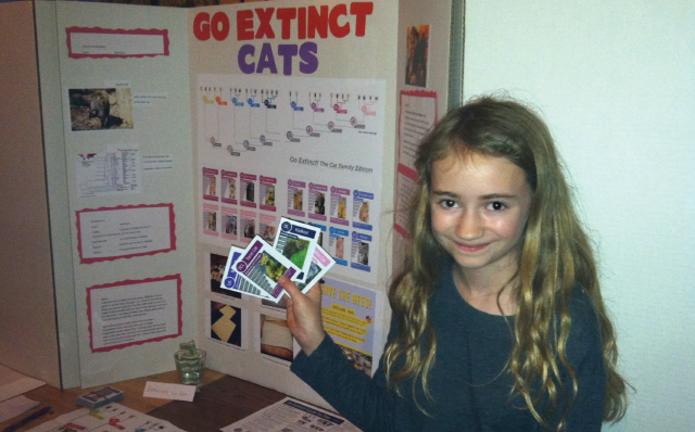Middle Schooler, Jane Dawson with her Cat Family version of Go Extinct!