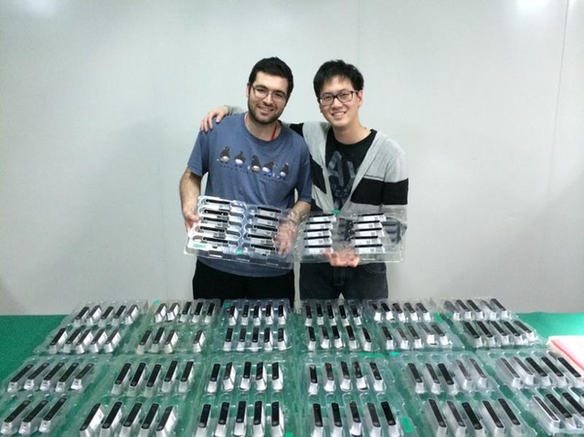 Forrest and Jason proudly display a collection of freshly built Structure Sensors.