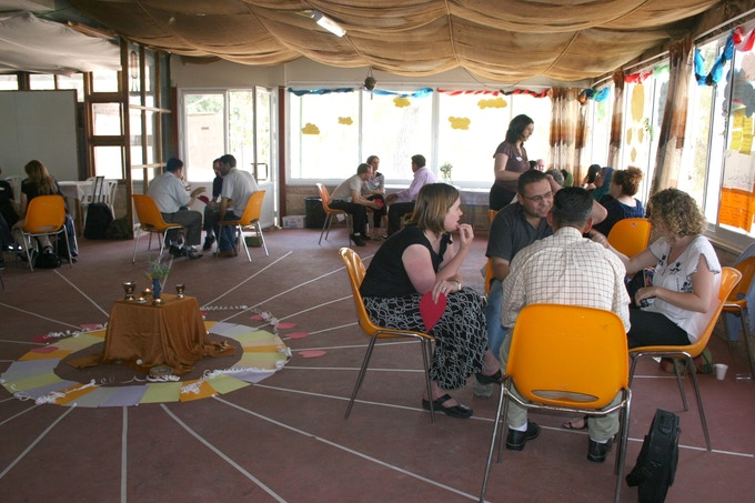 Global Village Square gathering on border between Israel and Palestinian Territories