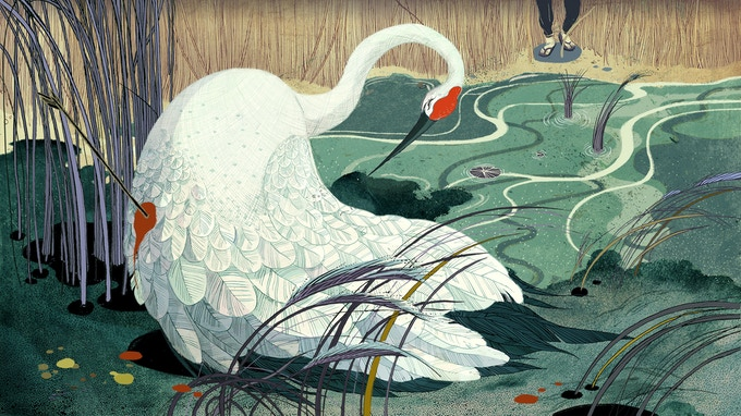Victo Ngai's original illustrations bring the fable to life. TENDERNESS LEVEL and above: A signed print of Victo's wounded crane