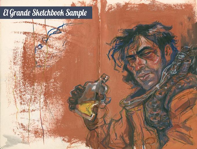 "Sample page from ""El Grande"" Sketchbook by project artist Elio Guevara"