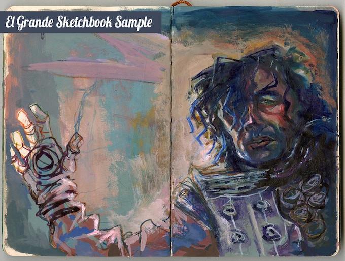 "Sample from ""El Grande"" Sketchbook by project artist Elio Guevara"