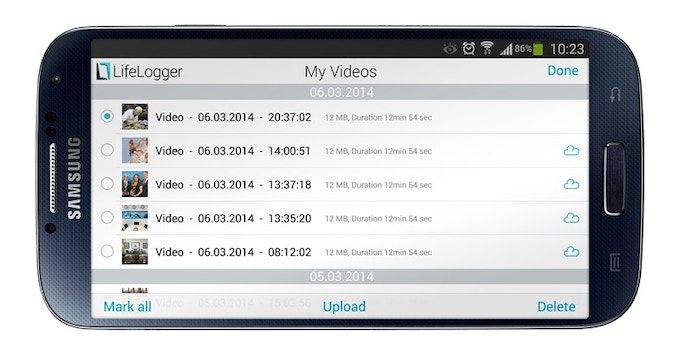 Lifelogger App to manage your existing videos, control the device and help you Live-Stream