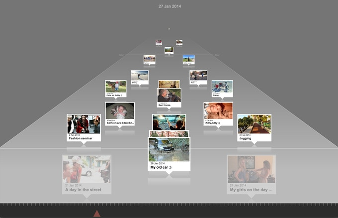 Once you upload your videos they are arranged on our 3D timeline