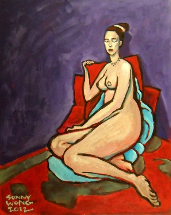 """Nude on Red and Blue"" by Sonny Wong. Acrylic on Canvas  $250"