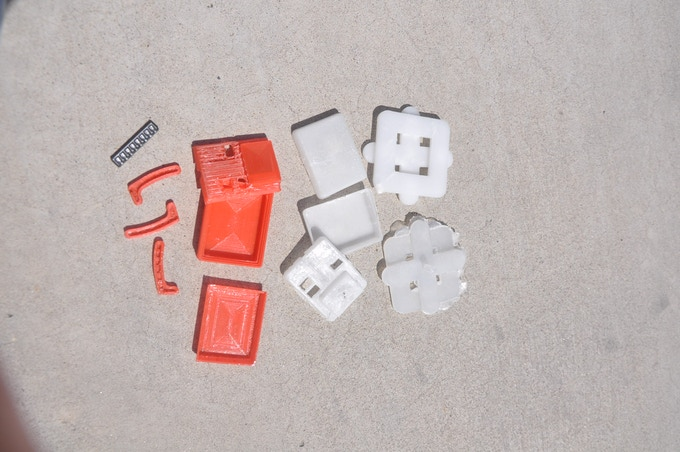 3D prints and test injection molded parts