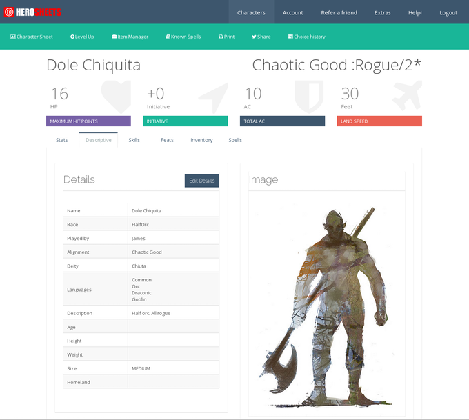 The new HeroSheets character sheet