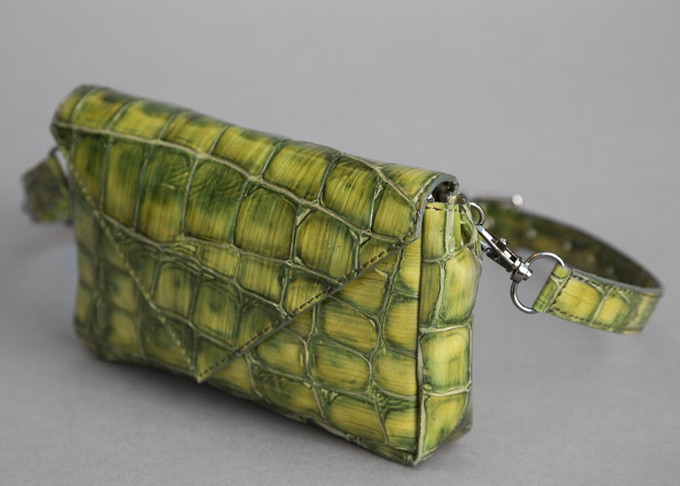 One-of-a-Kind Envelope in Green Croc