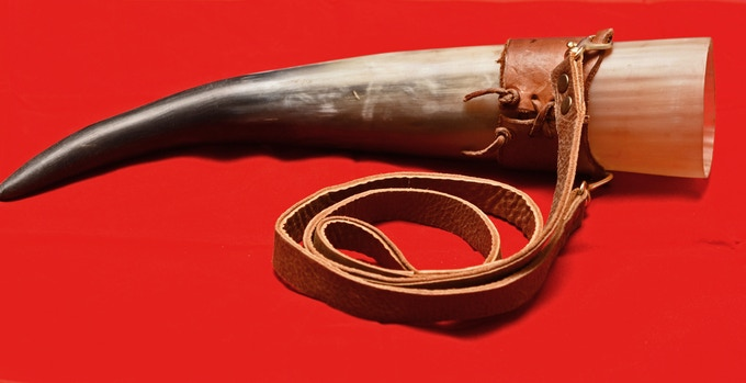 Drinking Horn - Embossed on the other side of the leather wrap.