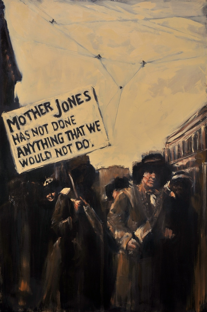 """Mother Jones has not done anything that we would not do"" / Oil on Canvas / 48"" x 72"""