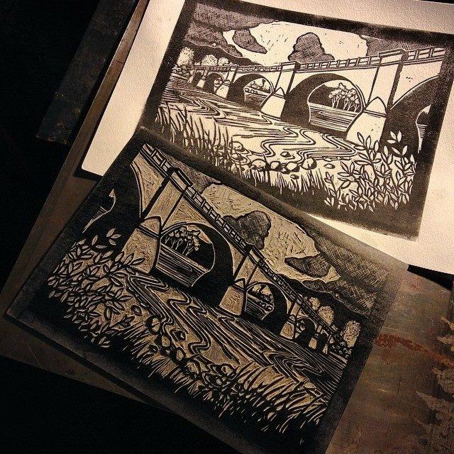 Fernbridge by Shawn Griggs - 8x10 Lino-cut print $40