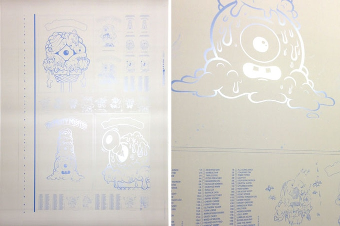 The one-of-a-kind metal printing plates used to print the cards.