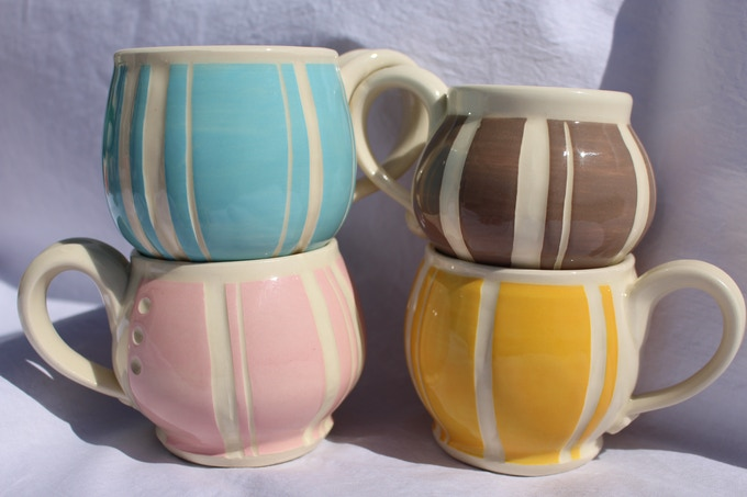 Beautiful ceramic mugs in your choice of colour.
