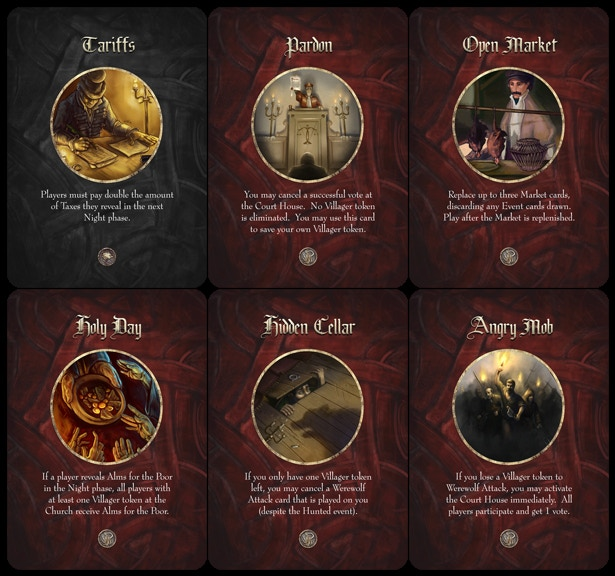 Some of the cards in the Market deck.