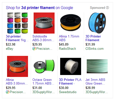 Filament Prices as found through Google