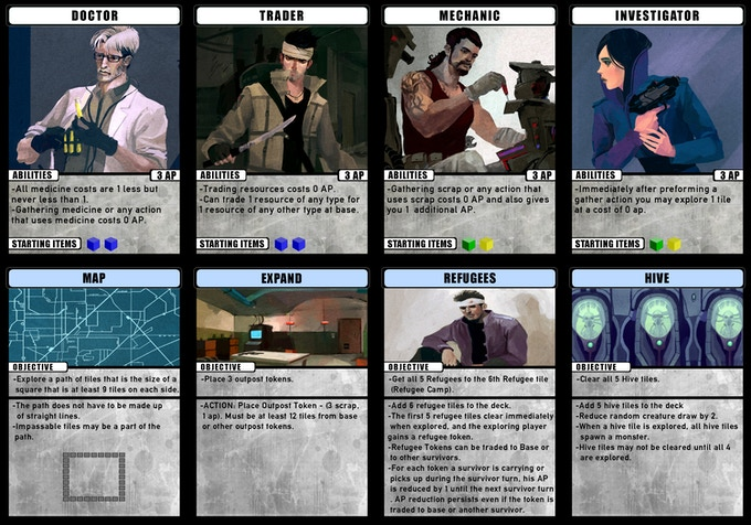 A few of the characters and missions (prototypes shown)
