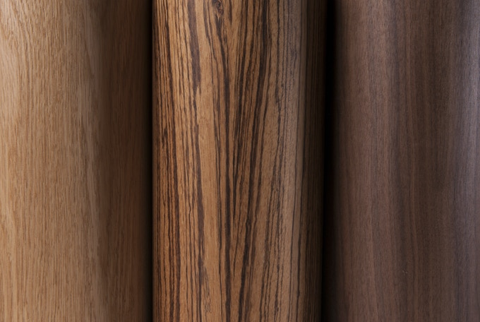 Three types of real wood (from left to right): American oak, zebrano and walnut. All perfectly finished.