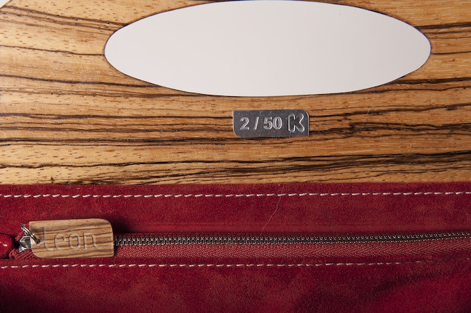 First 50 handbags made will be numbered issues with the 'K' of the Kickstarter logo engraved on a small metal plate. Photo: Zebrano.