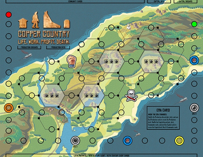 Copper Country's game board. Copper Country illustrations by Chris Park, Plantmonster Studios.