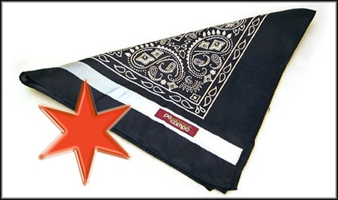 Black bandana with reflective edging and reflective star pin