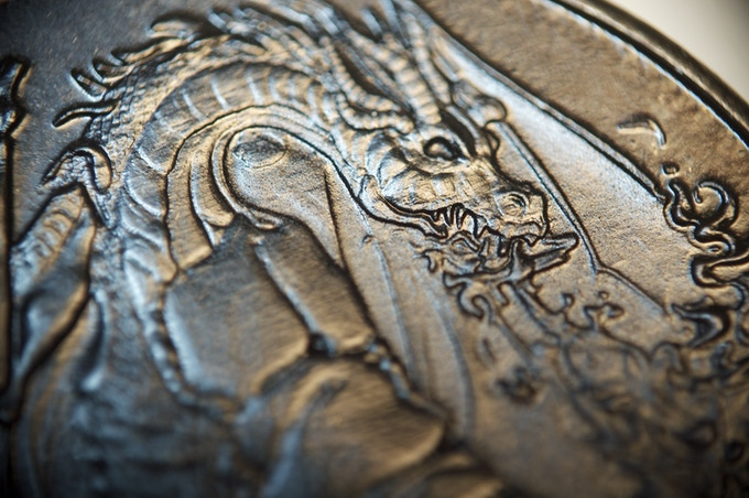Fire Dragon, Fire Element, 100 Denomination, detail