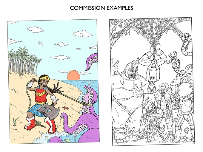(left) Full Background Color Commission Black & White (right) Black & White Multi-CharacterJam Piece