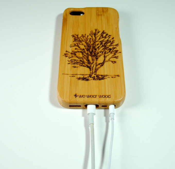 Laser engraved bamboo iPhone 5 and 5S case