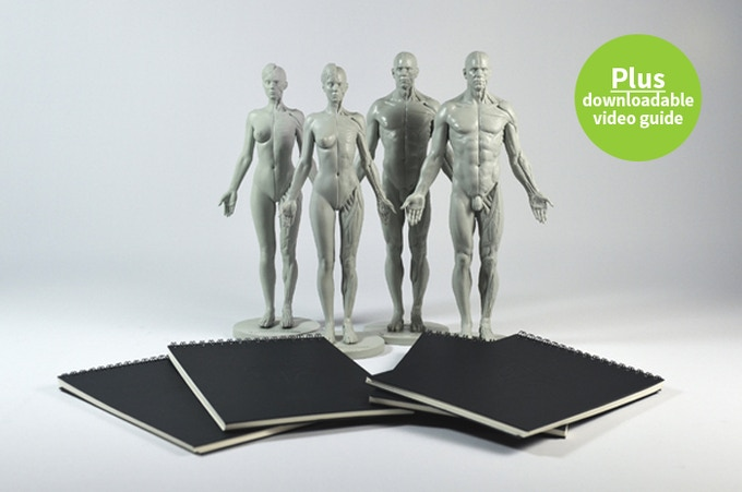 Buddy up & save! Any 4 anatomical reference figures plus 4 A5 sketchbooks!