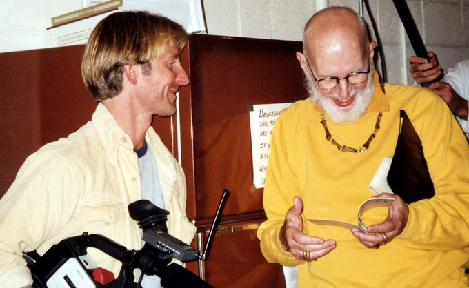 Director Christopher Seufert (L) and the late illustrator Edward Gorey