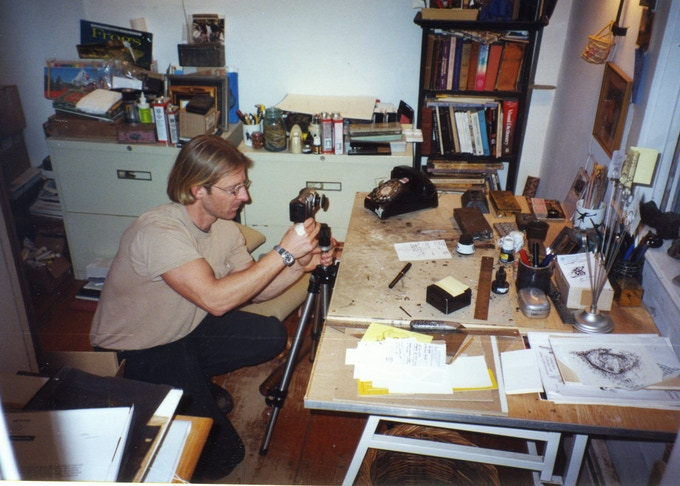 Director Christopher Seufert shooting Edward Gorey's work desk the day after his death in April, 2000.