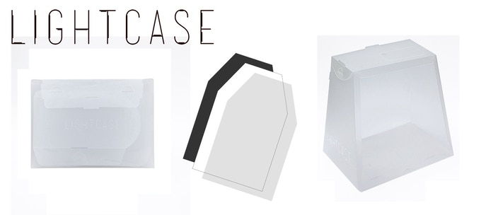 The Lightcase comes as a flat pack A4/US letter sized folder with 3 backdrops (white, black, frosted).