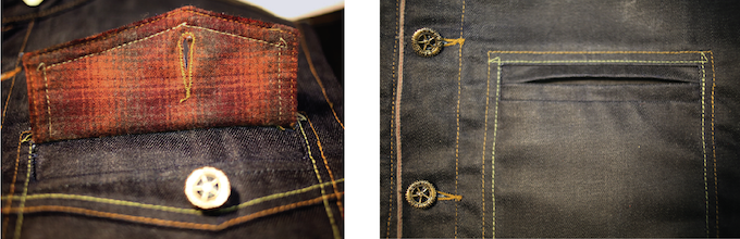 Wool plaid outside pocket accents.  Outside welt pocket design inspired by Harley Davidson's first made vest in 1921.